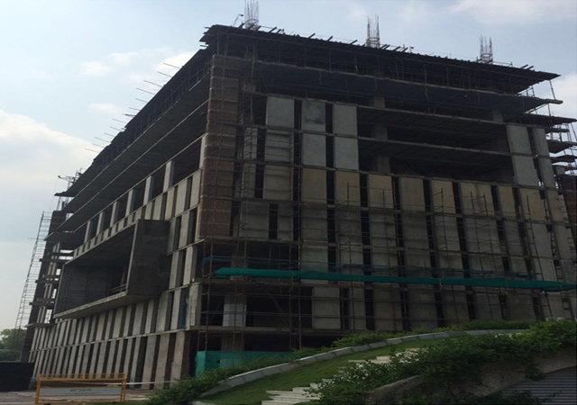 Vatika Mindscapes - Tower C  pour-1  10th floor slab shuttering work is in progress and pour-2  9th to 10th floor vertical  is in progress.