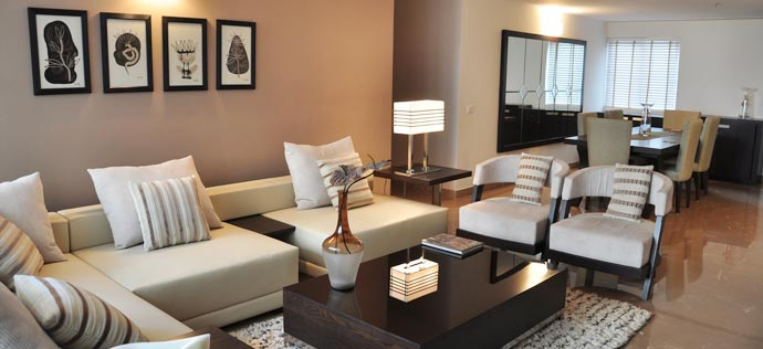 The Sovereign Apartments - Drawing room, sample apartment