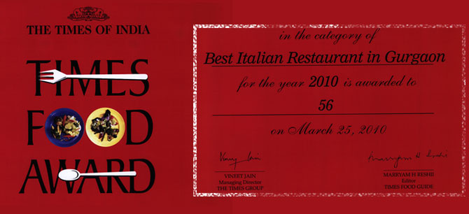 56Italiano - Times Food Award - 2010