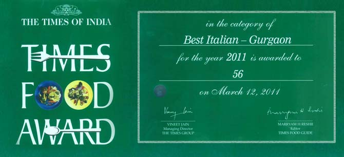 56Italiano - Times Food Award - 2011